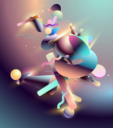 Abstract background of 3D primitive geometric shapes. Colorful design. Banco de Imagens - 130849935