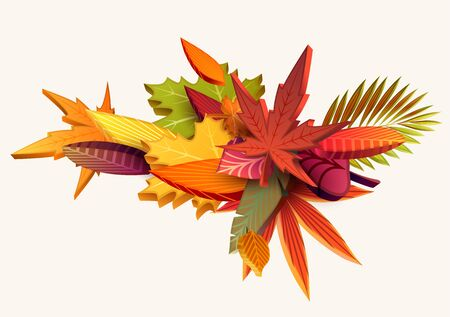 Composition of 3d autumn leaves