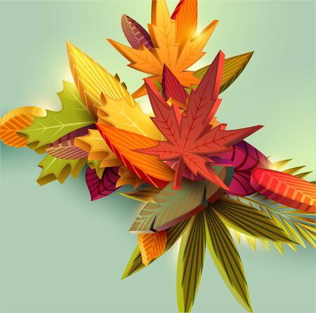 Colorful autumn leaves background. 3d design Stok Fotoğraf - 132310285