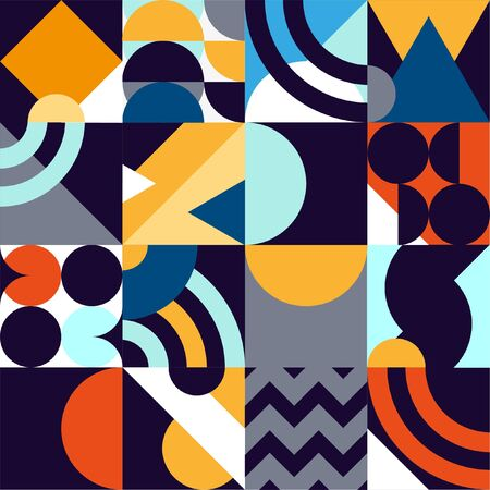Abstract geometric patten of multicolored primitive shapes.