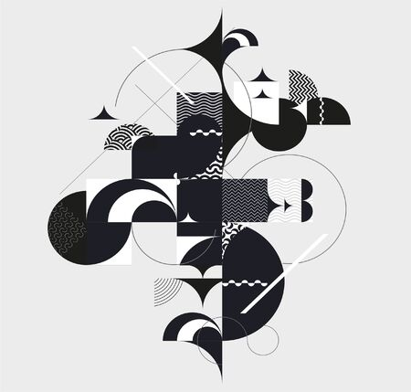 Graphic black and white composition of geometric elements