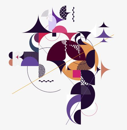 Graphic composition of geometric elements. Banco de Imagens - 132310344