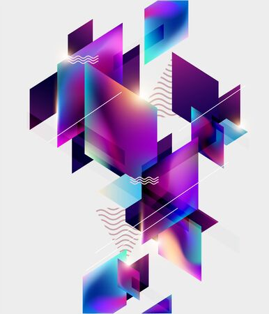 Colorful geometric poster design. Abstract background Banco de Imagens - 133955481