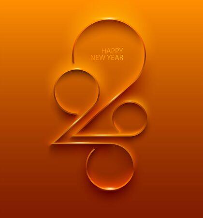 Año nuevo 2020. Diseño de tarjeta de felicitación.