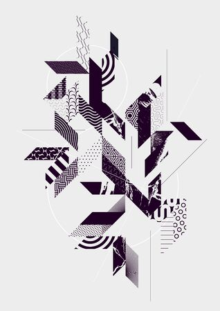 Abstract art background with geometric elements Vettoriali