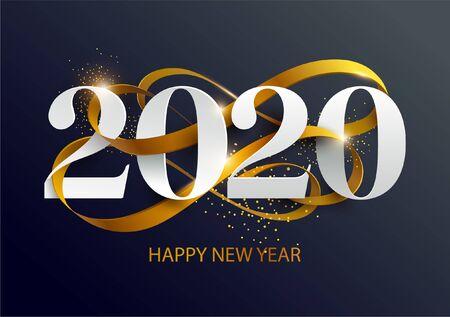 Año nuevo 2020. Tarjeta de felicitación con fecha y cinta. Ilustración de vector
