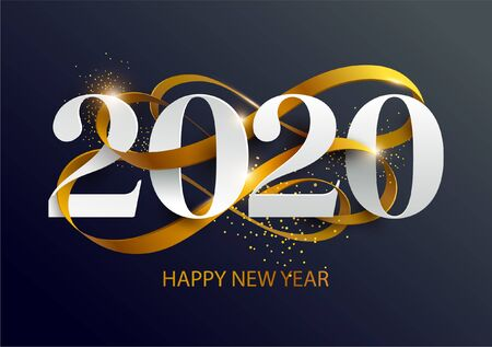 Capodanno 2020. Biglietto di auguri con data e nastro Vettoriali