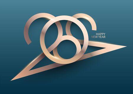 New year 2020. Design greeting card. Illustration