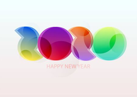 New year 2020. Colorful lettering design.