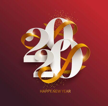 Año nuevo 2020. Tarjeta de felicitación con fecha y cinta.