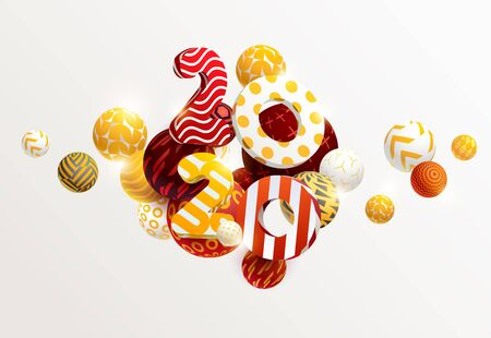 New year 2020. 3D figures and decorative balls Illustration