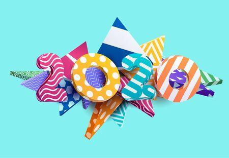 New year 2020. Colorful design. Banco de Imagens - 133955508