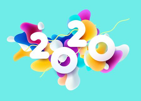 New year 2020 3D colorful design.