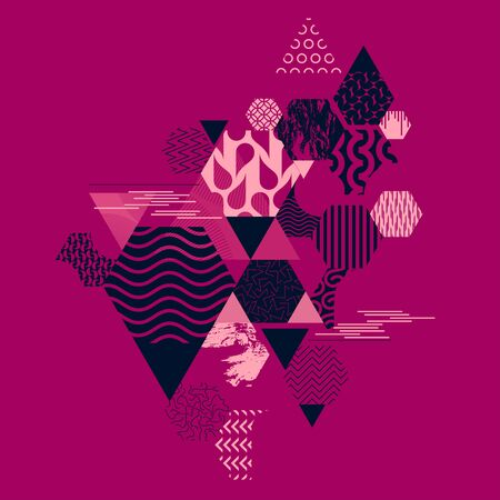 Abstract composition of geometric primitive shapes Ilustrace