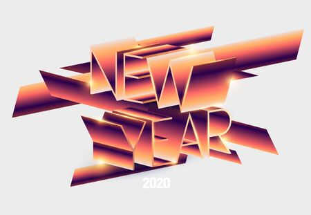 New Year poster Stylized retro inscription.