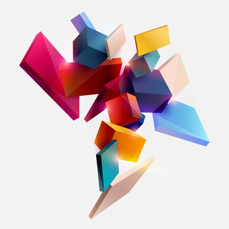 Abstract colorful composition with 3d cubes Banco de Imagens - 135123582