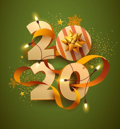 New Year greeting card 2020. 3D numbers with gift, garland and gold ribbon.