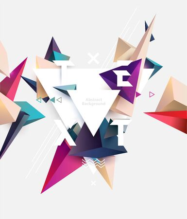Poster template design. Abstract background of multicolored pyramids with place for text  イラスト・ベクター素材