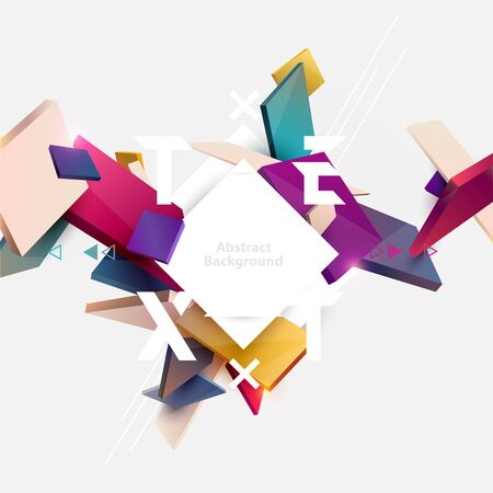 Abstract colorful composition with 3d cubes and place for text