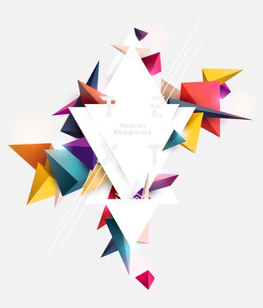 Abstract background of multicolored pyramids with place for text. Poster template design.