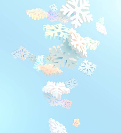 Multi-colored 3D snowflakes on blue background