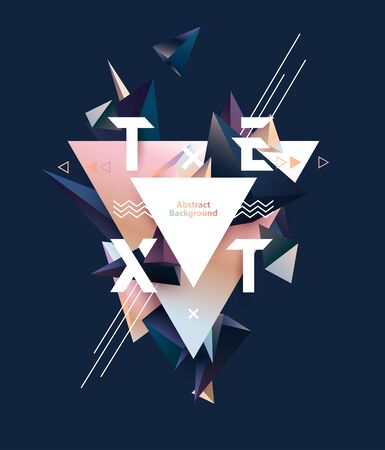 Abstract poster design. Multicolored pyramids with place for text  イラスト・ベクター素材