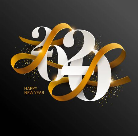 New Years 2020. Greeting card with date and ribbon Banco de Imagens - 137686545