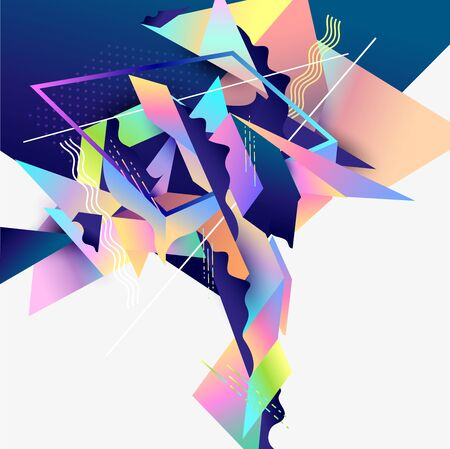 Abstract composition of primitive colorful geometric elements