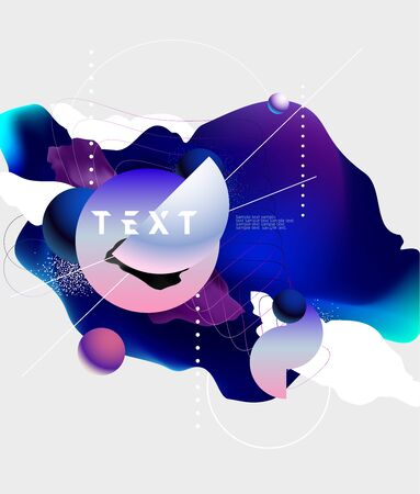 Minimalistic background with liquid abstract elements. Geometric poster design.
