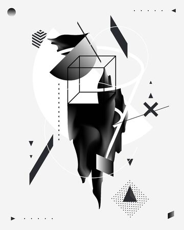 Abstract composition of geometric and liquid elements. Art poster.