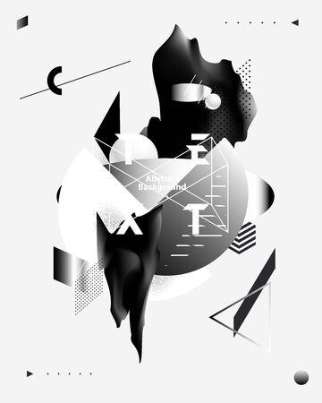 Art poster. Abstract composition of geometric and liquid elements. Stock Illustratie