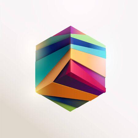 Multi-colored cube. Art geometric element Stock Illustratie