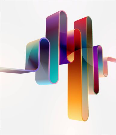 Abstract background. Colorful 3D tape on white background