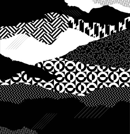 Art geometric background. Black and white patterns on torn paper
