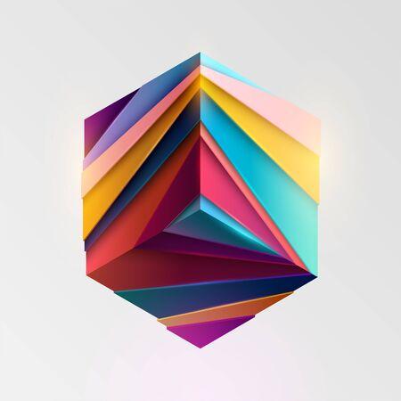 Colorful cube. Art geometric primitive Stock Illustratie