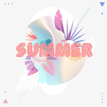 Summer poster design with place for text. Stock Illustratie