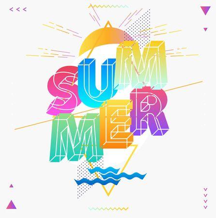 Summer typographic poster. Colorful outline design. Stock Illustratie