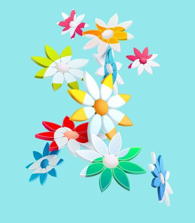 Composition of 3D stylized flowers on green Stock Illustratie