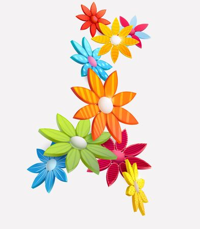 Composition of 3D stylized flowers