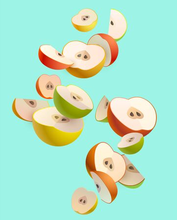 Colorful apple slices on green