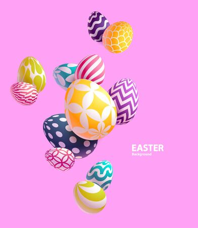 Composition of 3D Easter eggs on pink