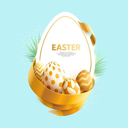 Easter poster with golden eggs and place for text