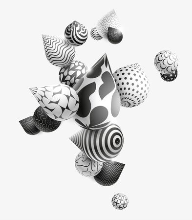 Black and white decorative balls. Stock Illustratie