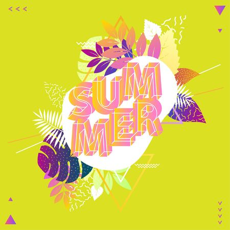Summer floral design. Poster with text and foliage. Stock Illustratie