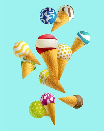 Colorful ice cream in a waffle cup Stock Illustratie