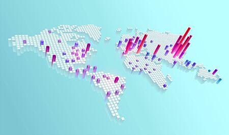 World map Coronavirus (Covid-19). Vector infographic