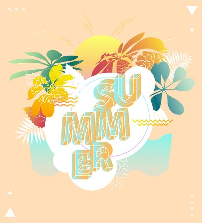 Bright summer poster with place for text.