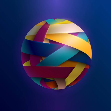 3D colored striped ball. Stock Illustratie