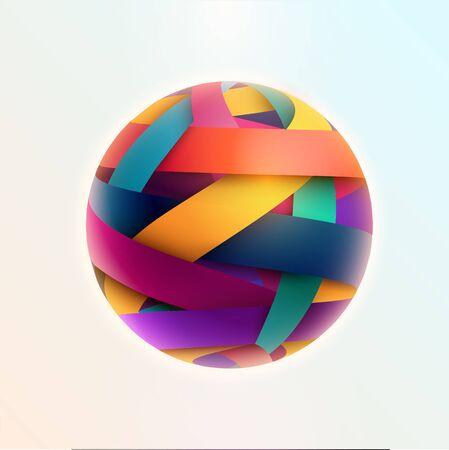 3D colored striped ball. Vector illustration Stock Illustratie