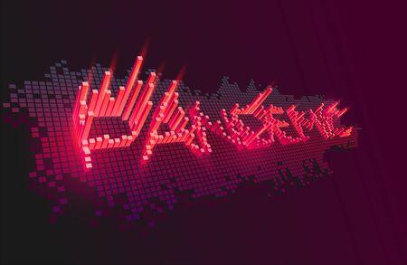 Coronavirus pandemic. Red 3D inscription on a dark